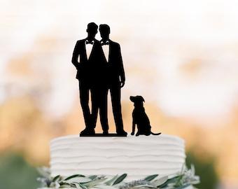 Gâteau mariage gay avec chien, de gâteau pour mariage, même forme de gâteau de mariage de sexe, cadeau pour gay gay silhouette