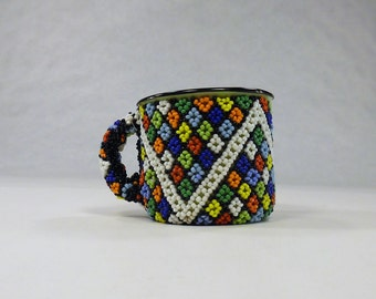 Beaded Tin Gift mug,Decorated metal pen pencil holder,Enamel coffee cup,South African office decor,Collectible Folk Art Figurines,diamond+