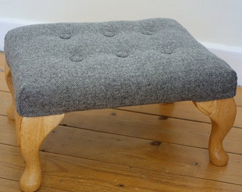 Footstool with Beech Queen Anne Legs - Rectangle Footstool, Foot Stool, Keltic Chairs - Top fabric Grey Parquet by designer Abraham Moon