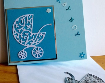 A square white new baby card, handmade, handcrafted, embellished.