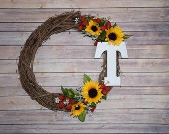 Personalized Monogram Sunflower Wreath