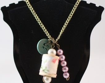Spool of Thread and Button Bronze Necklace