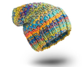 Thick Hat Chunky Smile Wool hat for women beanie hat  chunky hand knit hat