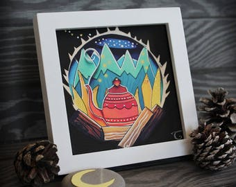 Explorer, Camping Gift // Camping Art Print, Camping Decor, Camping Print, Paper Cut Art Print, Paper Cutting Art, Campfire, Maine Made
