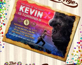 King Kong Invitations, King Kong Birthday, Birthday Invitation, King Kong Party,  TCD-057