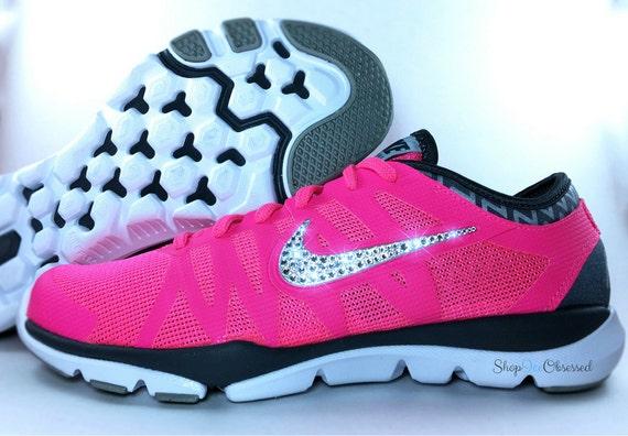 Hot Pink Womens Swarovski Nikes Custom TR3 by ShopIceObsessed 30%OFF ... 95fb0152c