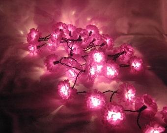 Purple Carnation 35 Flower / Bulb String Lights, Floral Fairy Lights
