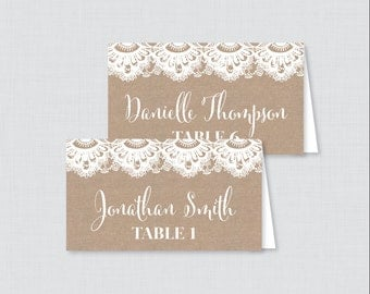 Printed Wedding Place Cards - Burlap and Lace Wedding Table Place Cards, Rustic Printable Place Cards for Wedding 0002