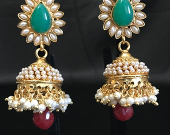 Indian Jewelry - Indian Earrings - Antique Gold Jhumka Earrings - Jhumki Earrings - Pearl Jhumki Earrings - Indian Bridal - Kundan Jewelry -