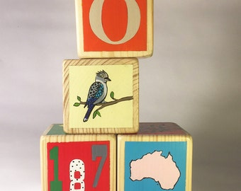 Customized, hand painted wooden blocks