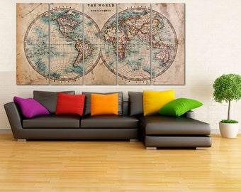 Geometric World Map Canvas Print, Framed Push Pin Map, Vintage Worldmap, Old World Map Canvas, Rustic World Map Art, World Map Artwork, Kids