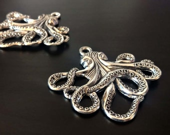 2 Large Octopus Pendants | Octopus Charm | Steampunk Octopus | Silver Octopus | Kraken Charm | Cthulhu Charm | Ready to Ship USA | AS122-2