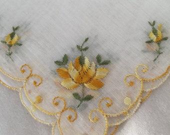 VINTAGE LINEN HANKIE Yellow Flowers