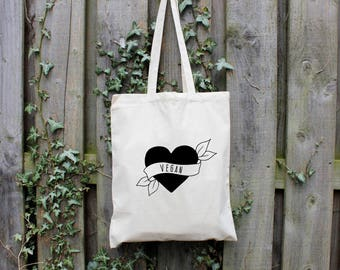 Vegan Tote Bag, Shopper Bag, Reusable Bag, 100% Cotton