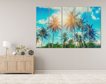 Palms Leather Print/Wall Art/Leather Art/Multi Panel Print/Extra Large Print/Better than Canvas!