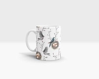 Nesting Birds Mug. 11oz Ceramic Mug.