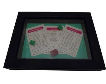 Monopoly Board Game Framed Upcycled Art - Pink Set Whitehall, Northumberland Avenue, Pall Mall