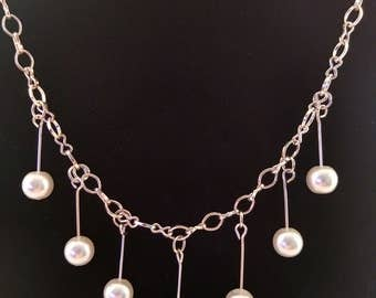 Silver Necklace with Pearl Beads