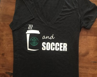 "Ladies soccer tee ""Starbucks and soccer"""