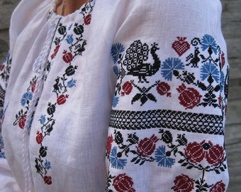 "Ukrainian vyshyvanka blouse ""Ptashka"" blouse of 100% linen Ukrainian clothing embroidered shirt boho blouse"