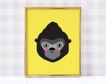 Gorilla Nursery Poster - Gorilla Poster - Gorilla Nursery Print - Gorilla Print -  Gorilla Wall Art - Gorilla Nursery - Digital Download