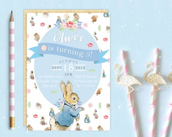 Peter Rabbit Beatrix Potter Invite | Birthday Party Invitation | Customised Personalised Digital Download | Printable | Floral Woodland