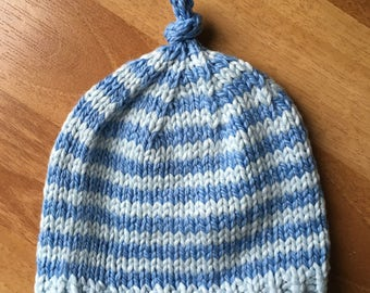 Blue Stripes Cotton Baby Beanie