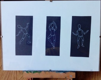 Original framed drawing . 'Dance'