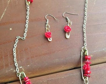 Rose Necklace and Earring Set