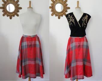 MIDI skirt, midi, flared, Gérard Pasquier, paris, France, high waist, swing, circle, red and gray Plaid, M, FR 38 UK 10, US 6