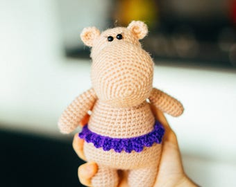 Little Hippo, Crochet Hippo, Present for a girl, Stuffed Hippo, Hippo Toy, Handmade Toy, Hippo Girl
