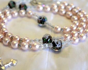 Pink Pearl Beaded Catholic Rosary