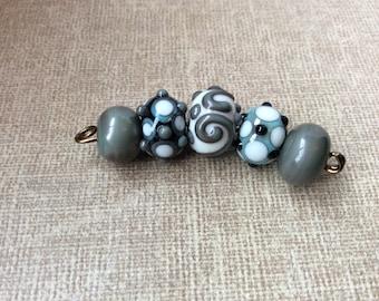 Handmade Glass Lampwork Beads | Artisan Glass Beads | Boho Beads | Tribal Beads | Rondelle Beads | Rustic Beads | Earthy Beads | Green Beads