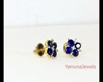 Natural Blue Sapphire and diamond  flower ear stud ( Vintage , handmade , untreated and unheated sapphire )
