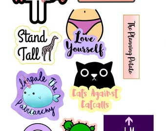 Feminist Sticker Sheet | Planner Stickers | Cute Laptop Computer Stickers | Share the Love | 2 Sizes