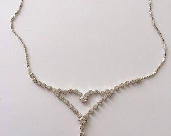 Vintage 1970's Crystal Rhinestone Simple Statement Dangle Necklace