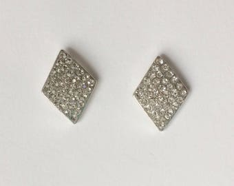 Vintage 1980's Silver Diamond Shaped Rhinestone Studs Earrings