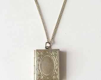 Vintage 1950's Silver Locket Book Pendant Photo Necklace