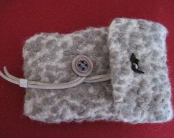 Knit felt mini bag + felting wool Lurex beige Brown