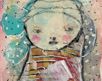 SALE Baby Art Card – Mixed Media ACEO – Original Art Card – Baby Shower Gift – Miniature Painting – Affordable Small Art – Modern Art Card