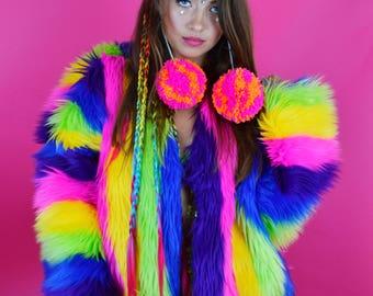 Confetti Part 2 Rainbow Faux Fur Coat