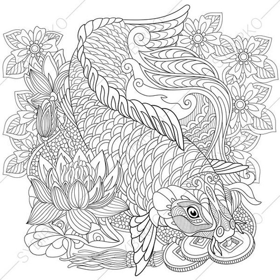 koi coloring pages | Koi Carp. Lucky Fish. Wealth Symbol. Coloring Pages. Animal