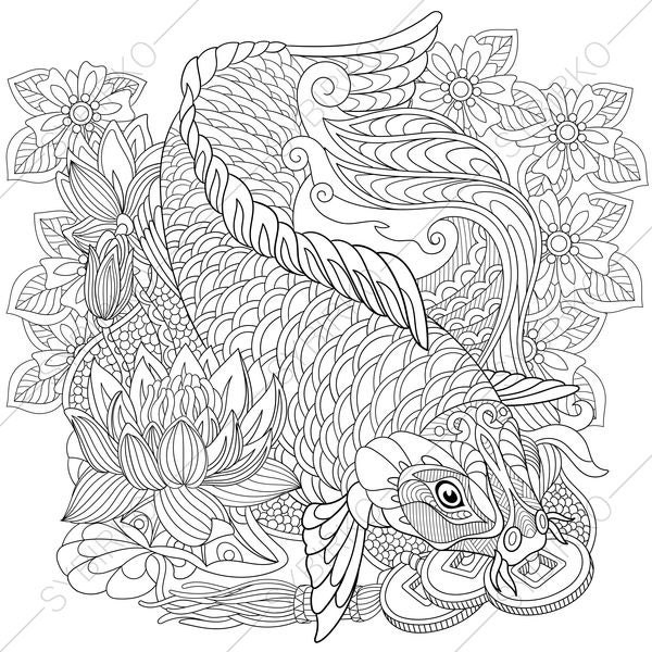 Adult Coloring Pages Carp Koi Fish Zentangle Doodle Coloring