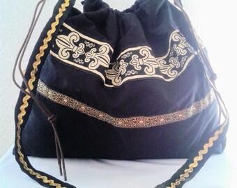 Black boho bag , bag with ribbons, black and gold tote bag, vintage black boho bag, shoulder bag, vintage pouch, tote handbag, black bag