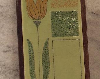 Vintage Vitroceramica Ceramic Spanish Tile Trivet - Ceramic Tile, Wood Frame, Flower Art Tile, Mid Century Kitchen