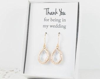 Crystal Gold Teardrop Earrings, Gold Crystal Earrings, Crystal Wedding Jewelry, Bridesmaid Gift, Bridesmaid Earrings, Bridesmaid Jewelry