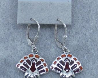 Thanksgiving Turkey Leverback Earrings - Sterling Silver - Fancy Dancy Jewelry - 201020 - Free Shipping to the USA