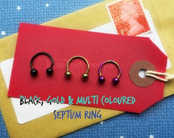 SALE - Surgical Steel Septum Ring - Black, Gold and Multi