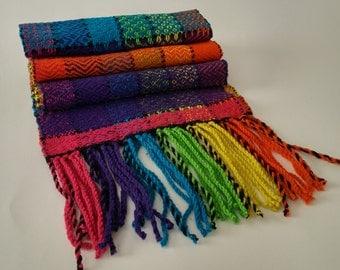 Handwoven Rainbow Scarf soft, warm and colorful - Luxury Merino Wool