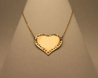 Customizable Brass Heart Necklace